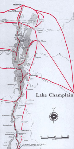 Region Served by the Champlain Line