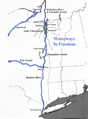 Underground Railroad New York Map.Ncugrha People Places Champlain Line